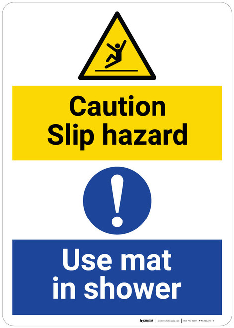 Caution: Slip Hazard - Use Mat in Shower with Pictogam - Wall Sign