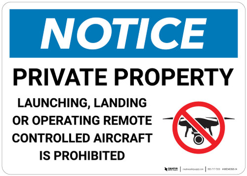 Notice: Private Property - Controlled Aircraft is Prohibited - Wall Sign