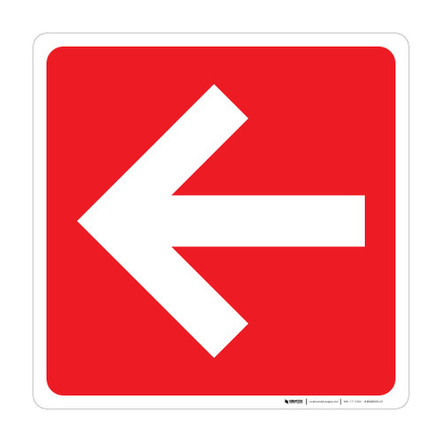 Arrow Square (Red/White) - Wall Sign