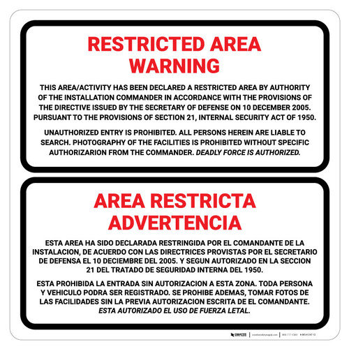 Restricted Area Warning Square - Bilingual Spanish - Wall Sign