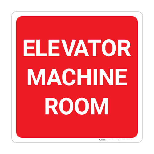 Elevator Machine Room Square - Wall Sign
