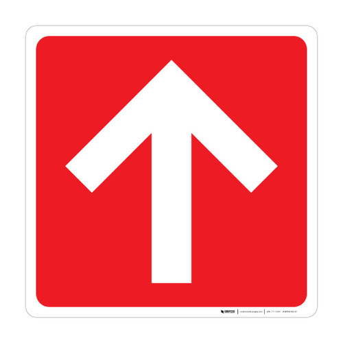 Arrow Up Square (Red/White) - Wall Sign