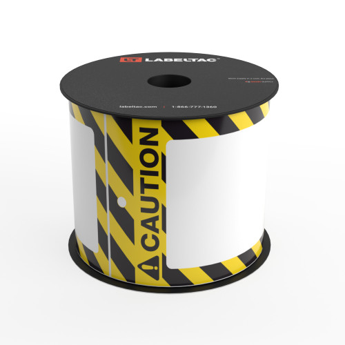 LabelTac®  Caution Tag - Safety Yellow and Black Stripes - Printable Tag Roll