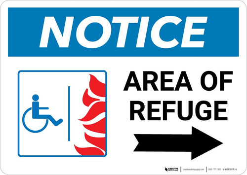 Notice: Area Of Refuge with ADA Fire Icon Right Arrow Landscape