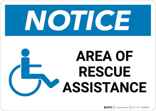 Notice: Area Of Rescue Assistance with ADA Icon Landscape