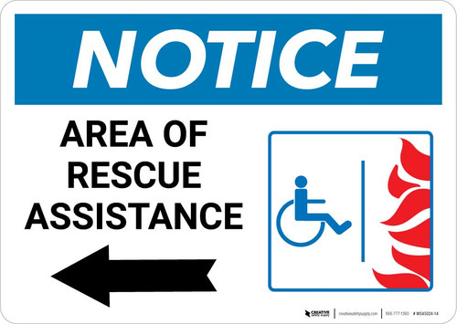 Notice: Area Of Rescue Assistance with ADA Fire Icon Left Arrow Landscape