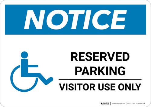 Notice: Reserved Parking - Visitor Use Only with ADA Icon Landscape