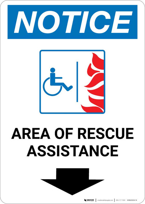 Notice: Area Of Rescue Assistance with ADA Fire Icon and Down Arrow Portrait