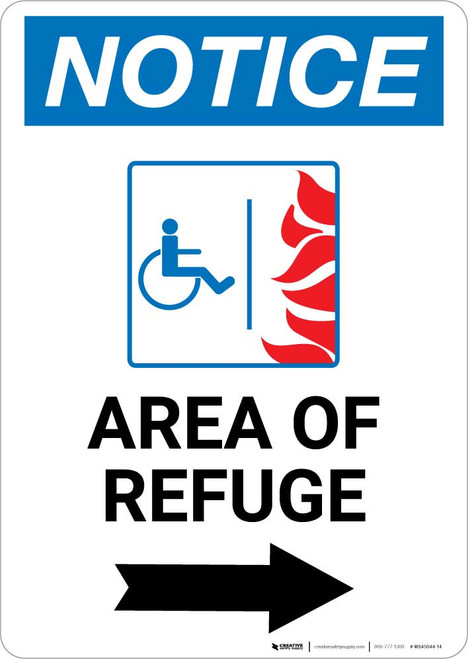 Notice: Area of Refuge with ADA Fire Icon and Right Arrow Portrait
