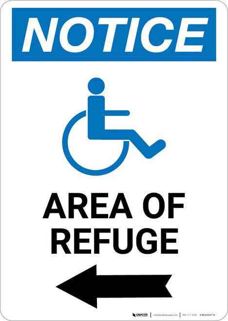 Notice: Area of Refuge with ADA Icon Left Arrow Portrait