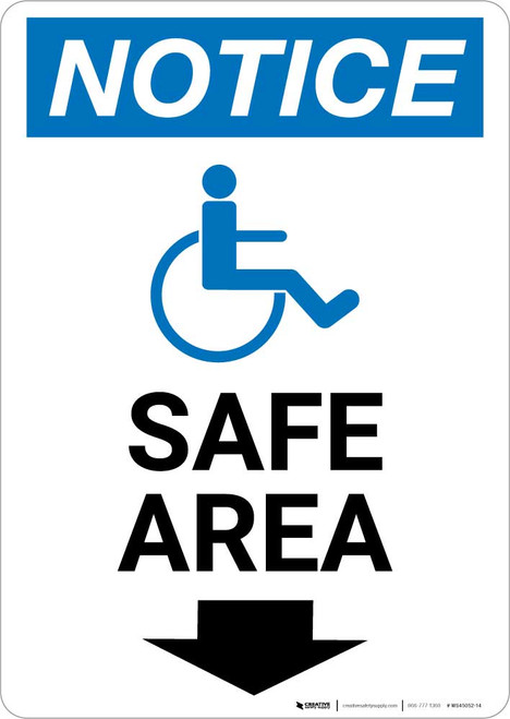 Notice: Safe Area Down Arrow with ADA Icon Portrait