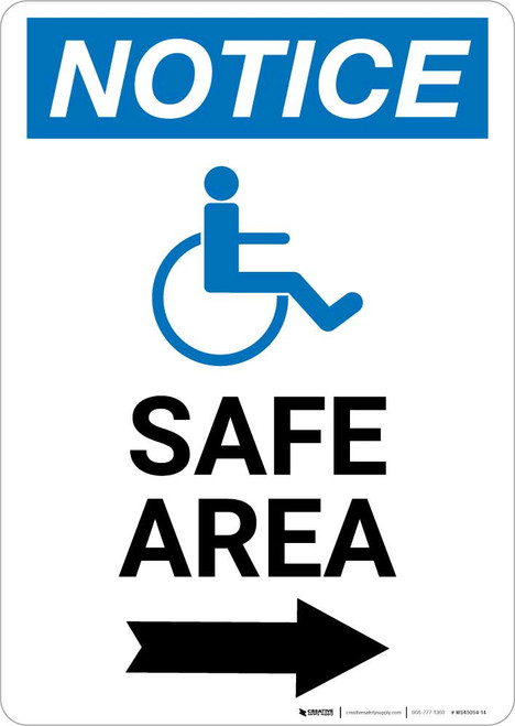 Notice: Safe Area Right Arrow with ADA Icon Portrait