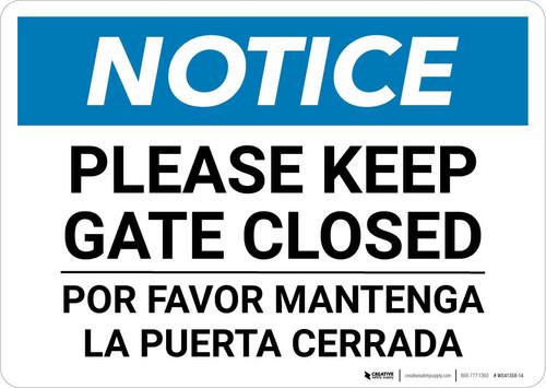 Notice: Bilingual Please Keep Gate Closed Landscape