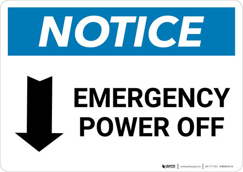 Notice: Emergency Power Off with Down Arrow Landscape