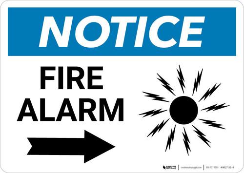 Notice: Fire Alarm with Right Arrow Landscape
