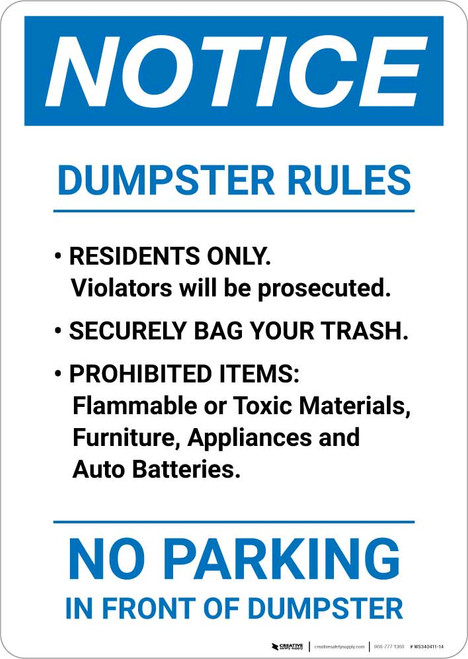 Notice: Dumpster Rules Portrait