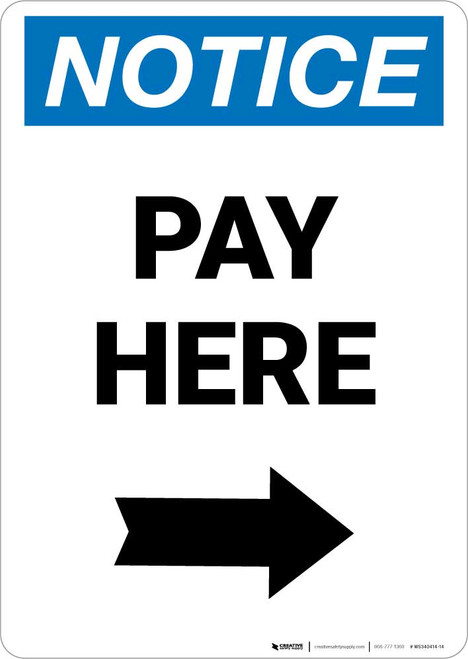 Notice: Pay Here with Right arrow Portrait