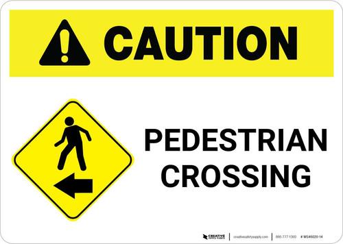 Caution: Pedestrian Crossing with Left Arrow Landscape