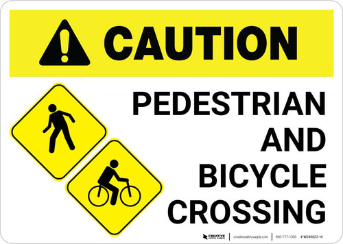 Caution: Pedestrian and Bicycle Crossing with Icon Landscape