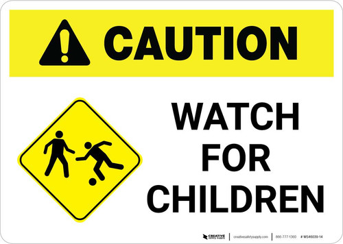 Caution: Watch for Children with Icon Landscape