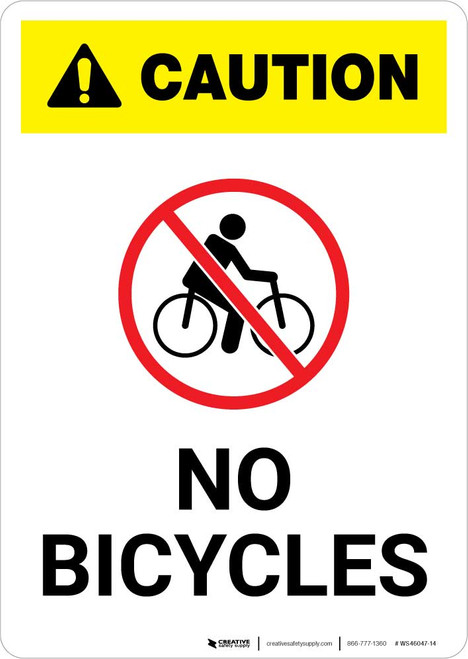 Caution: No Bicycles with Icon Portrait