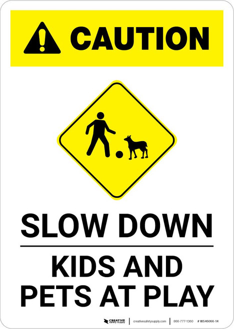 Caution: Slow Down - Kids and Pets At Play with Icon Portrait