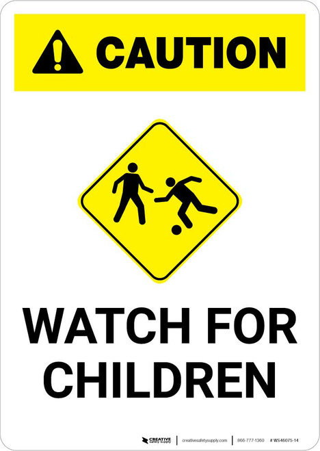 Caution: Watch for Children with Icon Portrait