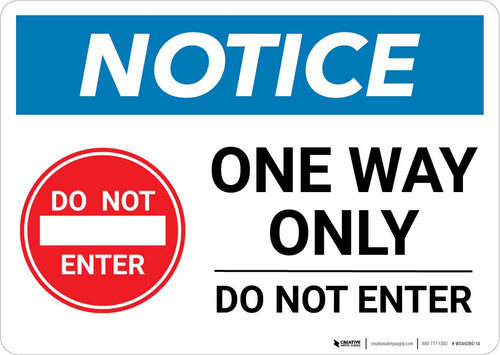 Notice: One Way Only - Do Not Enter with Icon Landscape