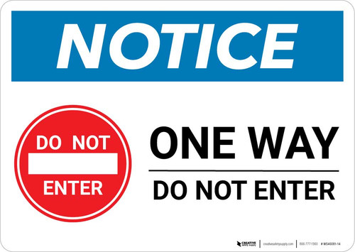 Notice: One Way - Do Not Enter with Icon Landscape