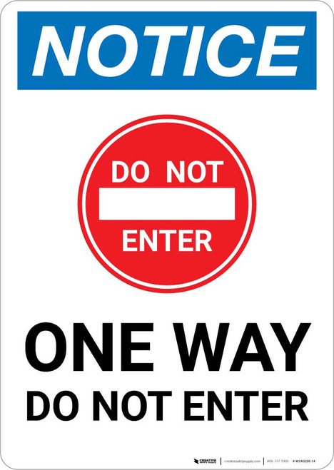 Notice: One Way - Do Not Enter with Icon Portrait
