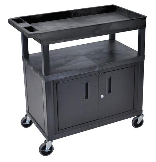 Luxor High Capacity 2 Flat and 1 Tub Shelf Cart W/ Cabinet in Black
