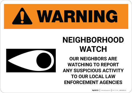 Warning: Neighborhood Crime Watch with Icon Landscape