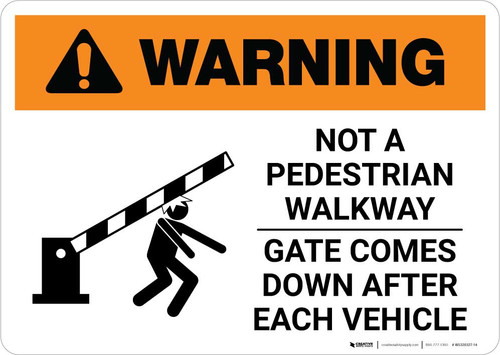 Warning: Not a Pedestrian Walkway - Gate Comes Down after Each Vehicle Landscape