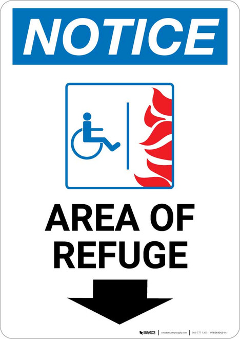 Notice: Area of Refuge with ADA Fire Icon and Down Arrow Portrait
