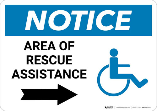 Notice: Area Of Rescue Assistance with ADA Icon and Right Arrow Landscape