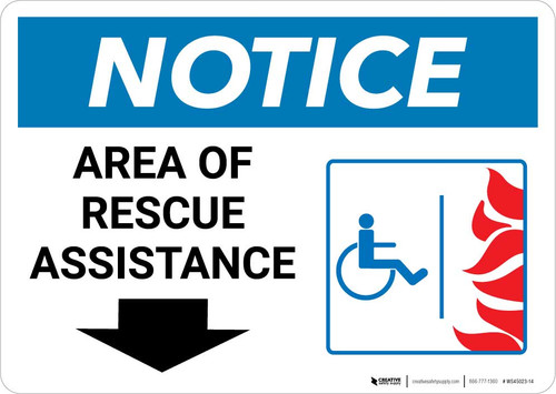 Notice: Area Of Rescue Assistance with ADA Fire Icon Down Arrow Landscape
