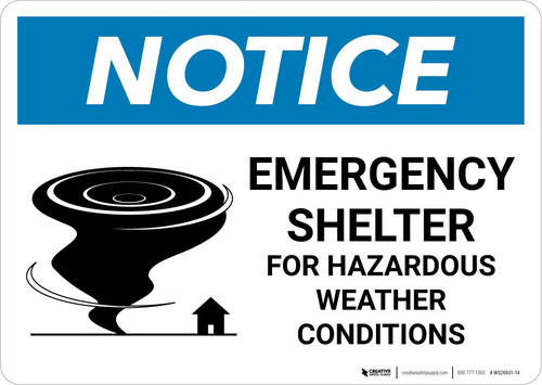 Notice: Emergency Shelter For Hazardous Weather Conditions with Icon Landscape
