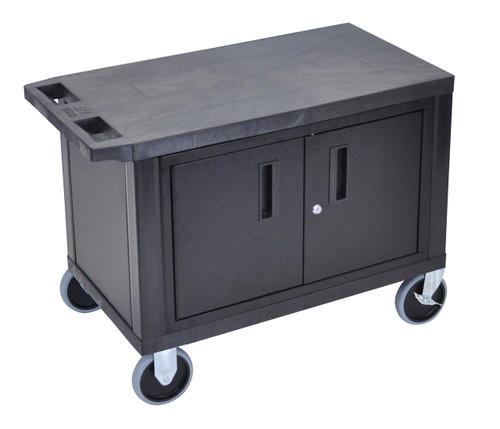 Luxor Black EC25CHD-B 18x32 Cart W/ 2 Shelves and Cabinet & Heavy Duty Casters
