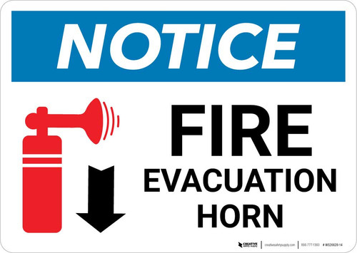 Notice: Fire Evacuation Horn Down Arrow with Icon Landscape