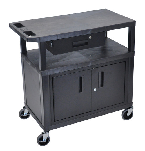 Luxor Black EC34CD-B 18x32 Cart W/ 3 Shelves, Cabinet & Drawer