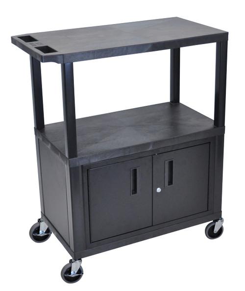Luxor Black EC38C-B 18x32 Cart W/ 3 Shelves and Cabinet