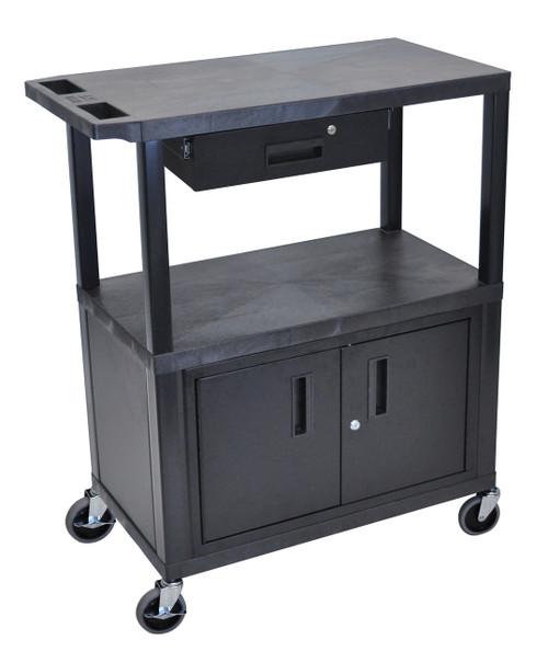 Luxor Black EC38CD-B 18x32 Cart W/ 3 Shelves, Cabinet & Drawer