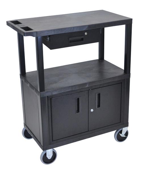 Luxor Black EC38CDHD-B 18x32 Cart W/ 3 Shelves, Cabinet & Drawer & Heavy Duty Casters