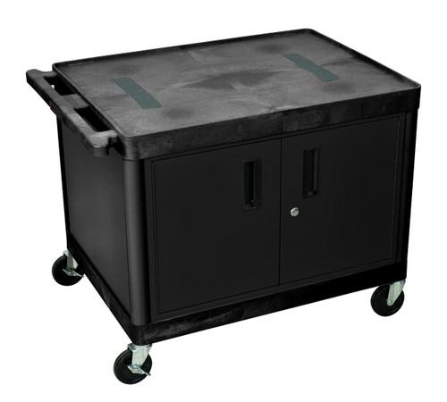 Luxor Endura A/V 2 Shelf Cart Black W/ Cabinet