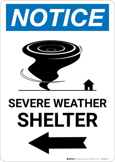 Notice: Severe Weather Shelter Left Arrow Portrait