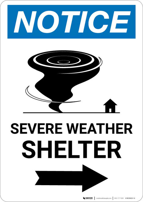 Notice: Severe Weather Shelter Right Arrow Portrait