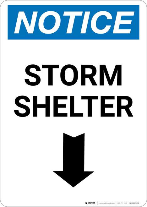 Notice: Storm Shelter Down Arrow Portrait