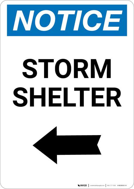 Notice: Storm Shelter Left Arrow Portrait