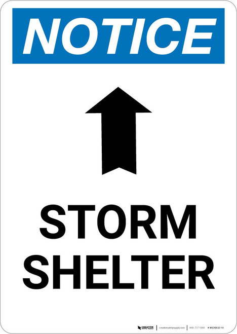 Notice: Storm Shelter Up Arrow Portrait