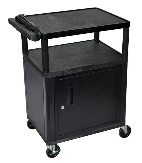 "Luxor Endura 3 Shelf Black Presentation Cart W/ Cabinet 35 1/4""H"